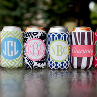 monogrammed drink koozie  choose one from 6 template by rougeandco