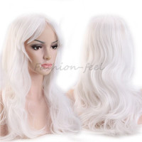 "19"" 48cm Long Curly Wavy Synthetic Full Head Wigs White Women's Costume Cosplay Daily Party Dress 100% Natural Hair Wig"