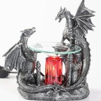 Two Dragon's on Castle Table Fragrance Aroma Lamp Oil Diffuser Wax Tart Candle Warmer Burner Home Decor
