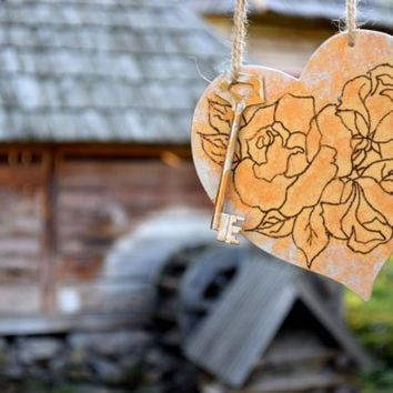 Wood Heart Ornament-Engraved hearts decor-Decoration-Wedding decor-Wall hanging-Wood ornament-Love sign-hearts-Rustic ornament-woodburned