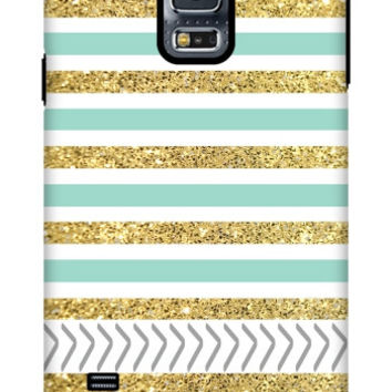 Gold and Tiffany Personalized Galaxy S5 Extra Protective Bumper Case