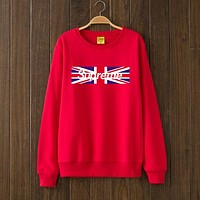 Supreme Woman Men USA Flag Top Sweater Pullover