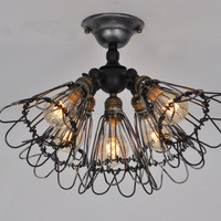 Vintage Barn Metal Semi Flush Mount Light Max 300W with 5 Lights Black And Silver Finish