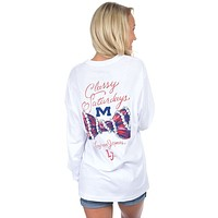 Ole Miss Classy Saturday Long Sleeve Tee in White by Lauren James - FINAL SALE