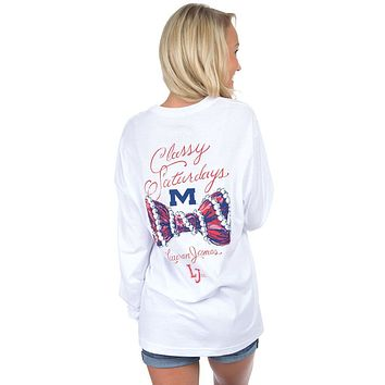 Ole Miss Classy Saturday Long Sleeve Tee in White by Lauren James