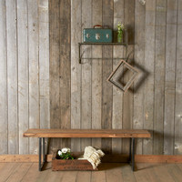 "Modern reclaimed wood Bench with square steel legs(1.65"" Standard Top, 36""L x 11.5""w x 18""h) ships quick"
