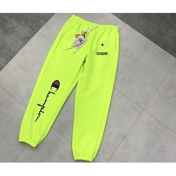 SUPREME & CHAMPION Co-branded Left Classic Large Logo Sports Trousers F-CY-MN Green