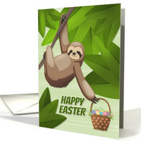 Sloth in a Tree Holding a Easter Egg Basket for Easter card
