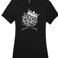 "Global Couture —  ""Curl Girl with Crown"" T shirt (various colors available, including gold)"