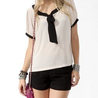 Contrast Tie Neck Top | FOREVER 21 - 2000048899
