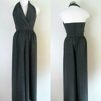Vintage Plunging Halter Jumpsuit / 1970s Palazzo Jump Suit / Black and White