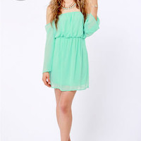 LULUS Exclusive Maiden Heaven Off-the-Shoulder Mint Green Dress