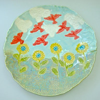 Decorative Hand Painted Ceramic platter, Sunflower platter, serving platter, Ceramic Wall Art, flower garden, blue yellow coral, bird plate