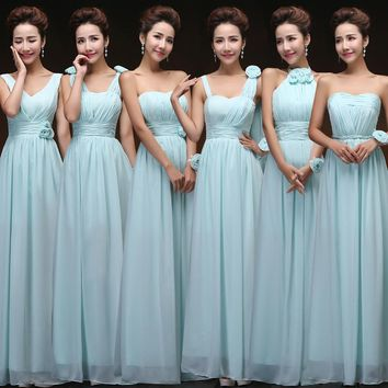 Vestido De Festa De Casamento Sky Blue Bridesmaid Dress Long Sweet Chiffon Blush Pink Bridesmaid Dress Under $50 Dama Dresses