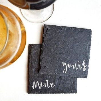Mine Yours Slate Coaster Set -- 4-in