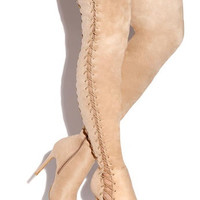 Two Laces Are Better Than One Nude Thigh High Lace Up Heel Boot