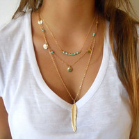 Handmade Jewelry Gold Plated Glaze Coin Beads feather long pendant layered Necklaces for women