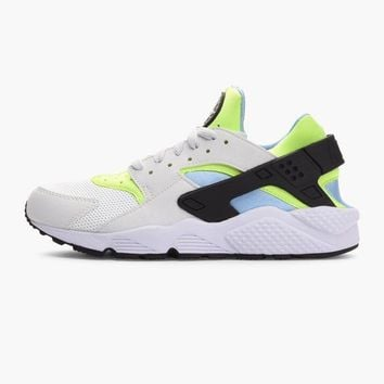 NIKE AIR HUARACHE TRAINERS - OFF WHITE / VOLT GREEN / BLUE - 318429 107 - UK 11