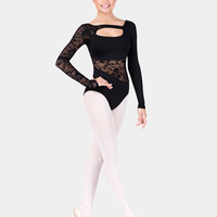 Free Shipping - Lace Long Sleeve Cut Out Leotard by NATALIE