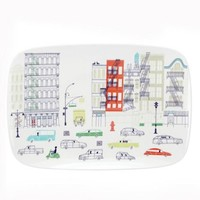 hopscotch drive about town oblong platter