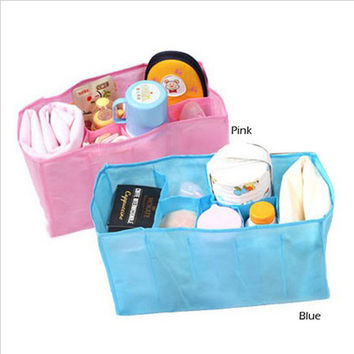 1 pcs Beautiful Baby Portable Diaper Nappy Water Bottle Changing Divider Storage Organizer Bag maquillaje organizador