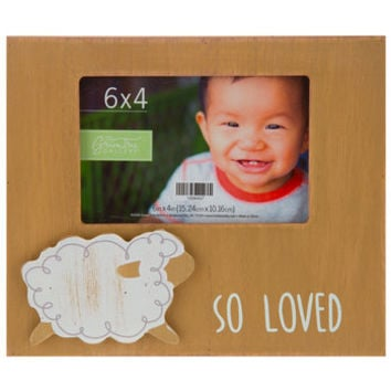 "So Loved Sheep Wood Frame - 4"" x 6"" 