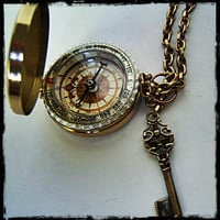 """Fully Functional 3"""" Brass compass with Sundial, Steampunk/ nautical accessory Father's day"""
