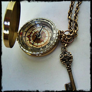 "Fully Functional 3"" Brass compass with Sundial, Steampunk/ nautical accessory Father's day"