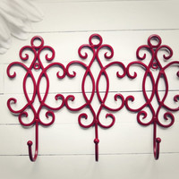 Metal Wall Hanger / Wall Hooks / Jewelry Rack / Jewelry Hanger / Towel Rack / Coat Hook / Metal Wall Decor / Red Decor / Fixture / Hooks