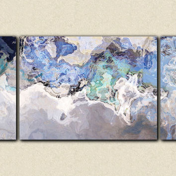 "Large modern art canvas print from abstract art painting, 30x60 triptych abstract expressionism in blue tones, ""Out of the Blue"""