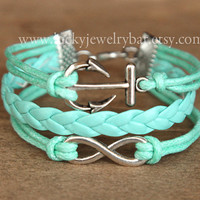 SALE-- Anchor bracelet, infinit bracelet,braid leather bracelet, mint green bracelet, bridesmaid bracelet