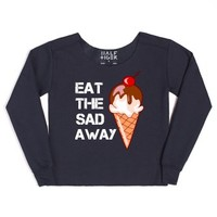Eat The Sad Away-Female Navy Hoodie