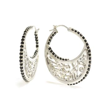 Large Sterling Silver Hoop Earrings with Signature Design in Black Onyx