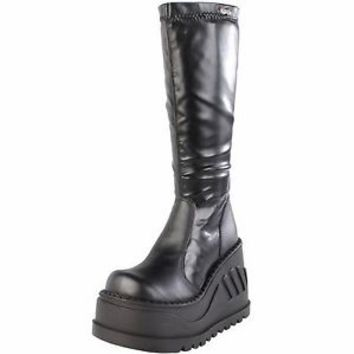 "Demonia Black Stretch PU 4.75"" Platform Calf Boot Goth Punk STOMP-300/B/PU"