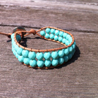 Turquoise Czech Glass Beaded Leather Single Wrap Bracelet