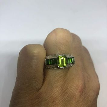 Vintage Handmade green Chrome Diopside  and Peridot Filigree setting Sterling Silver Gothic Ring
