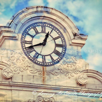 dreamy blue sky and clock tower, sky with clouds, clock face with clouds, puffy clouds, cloud layer, whimsical decor, time passes