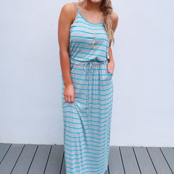 Joyful Heart Maxi: Turquoise/Grey