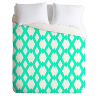 Lisa Argyropoulos Daffy Lattice Aqua Duvet Cover