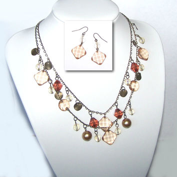 Pearl & Topaz Two Strand Necklace & Matching Earrings, Premier Designs Tuscany Retired