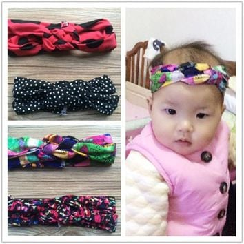 DCCKJG2 Retail Girls kids Boho Headwrap Baby toddlers Cross Turban Headbands Infant Top Knot Headwear Hair accessories