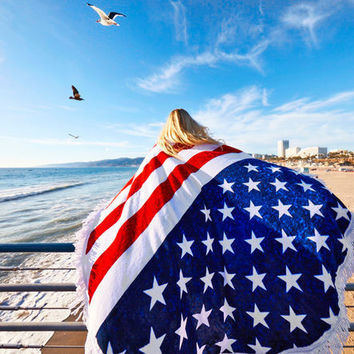USA Flag Beach Towel Blanket Gift