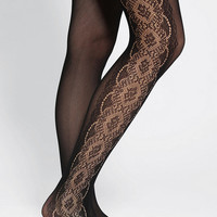 Floral-Inset Openwork Tight