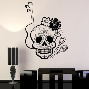 Vinyl Wall Decal Mexico Sugar Skull Mexican Musical Instruments Stickers Unique Gift (ig4277)