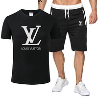 LV tide brand men's casual short-sleeved sports suit two-piece Black