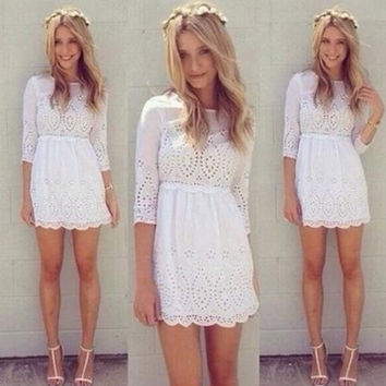 Gagaopt 2014 European & American Style Pretty A-Line Half Sleeves White Hollow our Mini Dress for Ladies = 1901114628