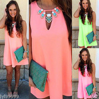 NEW WOMEN SUMMER BEACH HOLIDAY MINI DRESS PARTY SLEEVELESS SEXY CHIFFON DRESS
