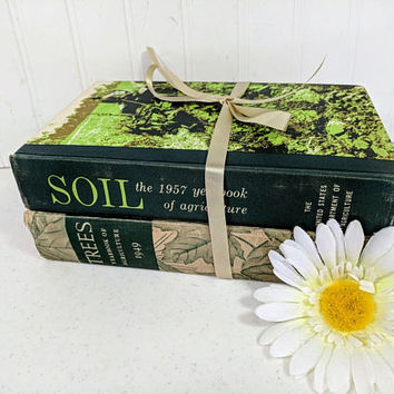 Trees & Soil Yearbooks Vintage Books Gift Set - Botanist Books Gift Idea - 1949 Trees + 1957 Soil USDA Yearbooks Decorative Pair Green Books