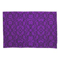Elegant Royal Purple Lace Print Pillowcase Pair