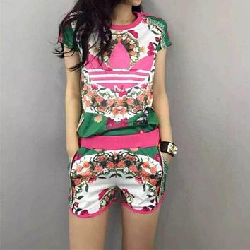 """Adidas"" Women Casual Fashion Multicolor Floral Print Short Sleeve Shorts Set Two-Piece Sportswear"